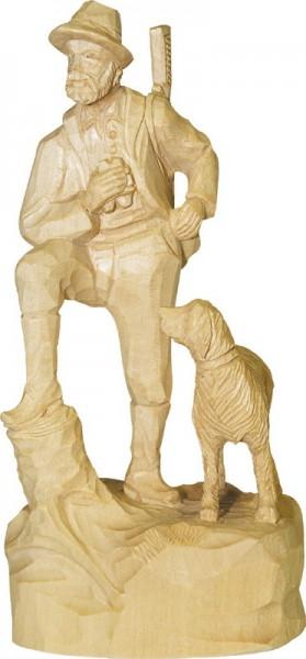 Förster mit Jagdhund, natur, geschnitzt, in verschiedenen Größen
