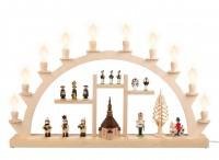 Vorschau: Schwibbogen von Nestler-Seiffen Souvenir III, elektrisch beleuchtet mit Kleinschaftkerzen_Bild1