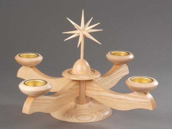 Adventsleuchter, natur - Weihnachtsstern, Adventsleuchter aus massivem Eschenholz, naturbelassen, Stern in Handarbeit gefertigt, Leuchtersockel sowie Tüllen …