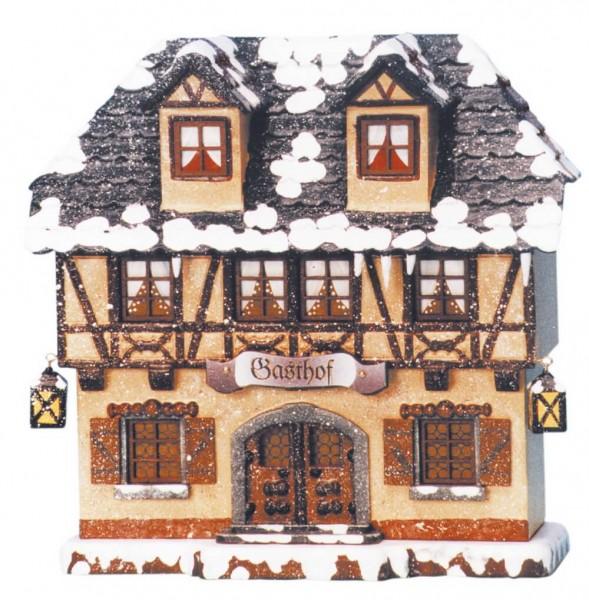 Lichterhaus Gasthof aus Holz und elektrisch beleuchtet von Hubrig