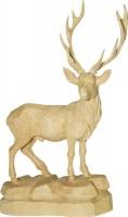 Vorschau: Hirsch mit gedrehtem Kopf, natur, geschnitzt, in verschiedenen Größen
