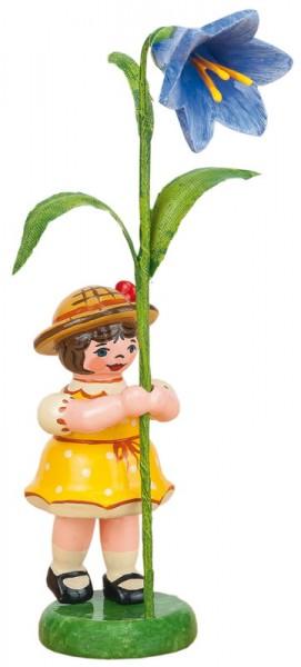 Blumenkinder - Blumenkind Mädchen mit Blauglöckchen, 11 cm von Hubrig Volkskunst GmbH Zschorlau/ Erzgebirge