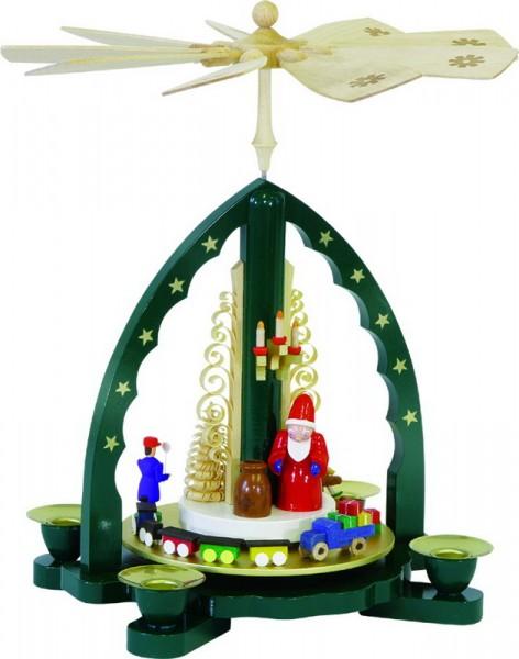 Weihnachtspyramide Weihnachtsmann, grün, 27 cm, Richard Glässer GmbH Seiffen/ Erzgebirge