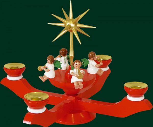 Richard Glässer Adventsleuchter mit Weihnachtsengel, rot_Bild2