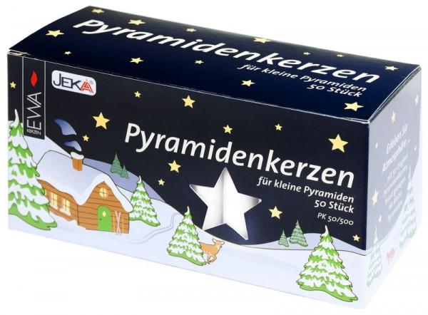 Kerzen für Weihnachtspyramiden, weiß, 50 Stück