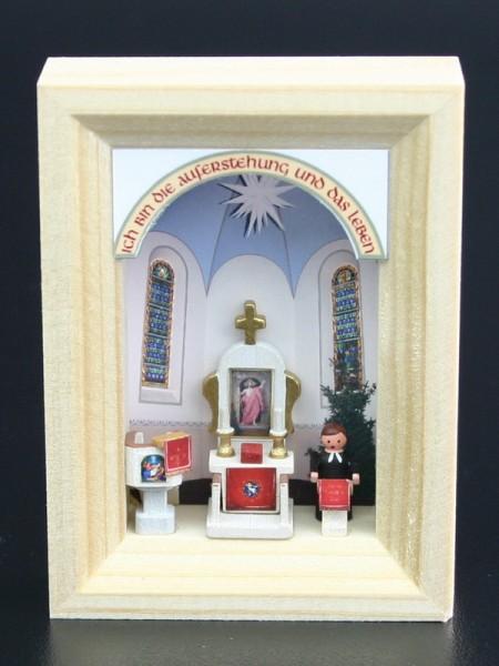 Miniatur im Rähmchen Dorfkirche von Gunter Flath aus Seiffen / Erzgebirge Detailgetreue Nachbildung einer Dorfkirche aus früheren Zeiten. Diese Dorfkirche …