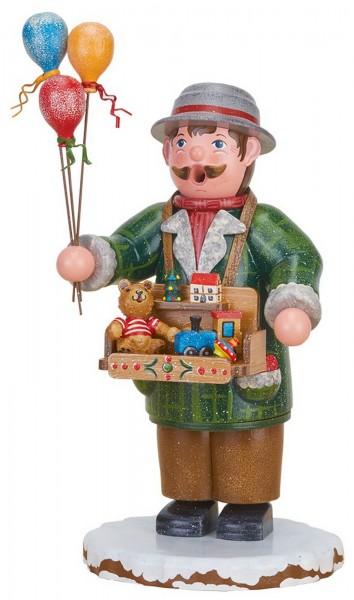 Räuchermännchen Winterkind Spielzeughändler von Hubrig Volkskunst GmbH Zschorlau/ Erzgebirge ist 20 cm groß.