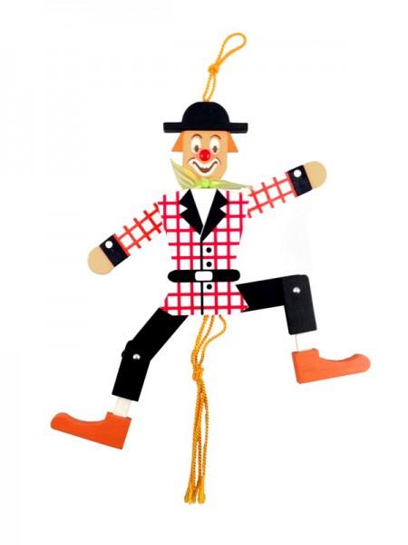 Einen Hampelmann muss doch jeder haben! Diese Gliederpuppe ist aus Holz. Das Motiv ist der Clown. Durch die Schnur sind alle Gliedmaßen miteinander verbunden …
