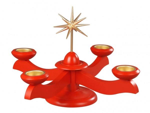 Albin Preißler Adventsleuchter mit Weihnachtsstern, rot, für Teelichter