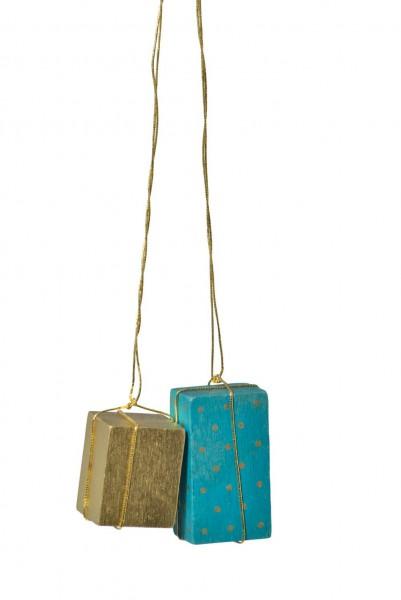 KWO Christbaumschmuck Pakete in gold und türkis zum Hängen für den Weihnachtsbaum