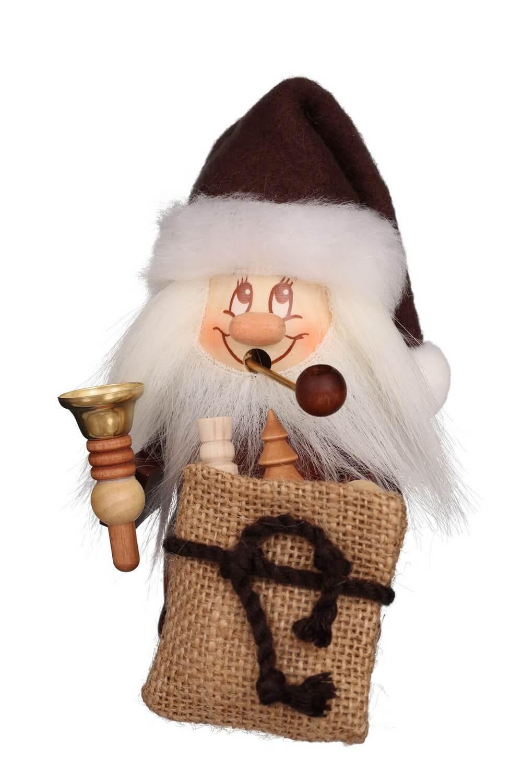 Räuchermännchen Miniwichtel Weihnachtsmann mit Glocke mit der typischen Knubbelnase und dem freundlichen Gesicht von Christian Ulbricht Seiffen/ Erzgebirge …