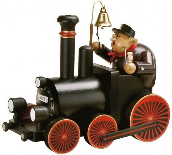 KWO Räuchermännchen Set Lokomotive mit Lokführer, 2-teilig aus der Serie Eisenbahn