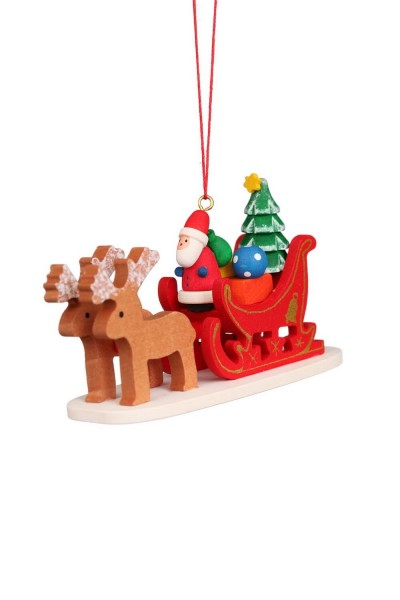 Baumbehang &Christbaumschmuck Weihnachtsmann im Rentierschlitten, 6 Stück, 10 x 6 cm von Christian Ulbricht GmbH & Co. KG Seiffen/ …
