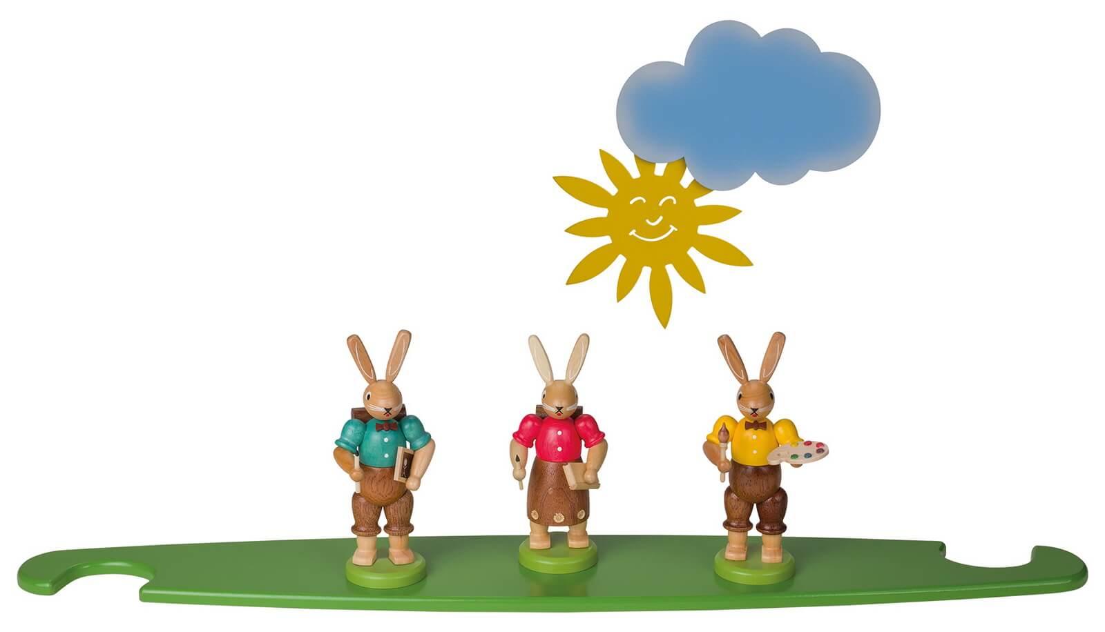 Motivplattform Hasen, farbig für Moderne LED Lichterspitze, natur von Müller Kleinkunst