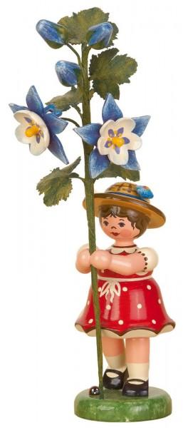 Mädchen mit Akelei aus Holz aus der Hubrig Serie Blumenkinder