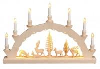Vorschau: LED Schwibbogen mit dem Motiv geschnitzte Hirsche und 2-facher Beleuchtung von Nestler-Seiffen_Bild1