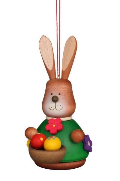 Wackelhase mit Eierkorb, Baumbehang farbig von Christian Ulbricht GmbH & Co KG Seiffen/ Erzgebirge ist 10 cm groß. Ein Körbchen voller bunter …