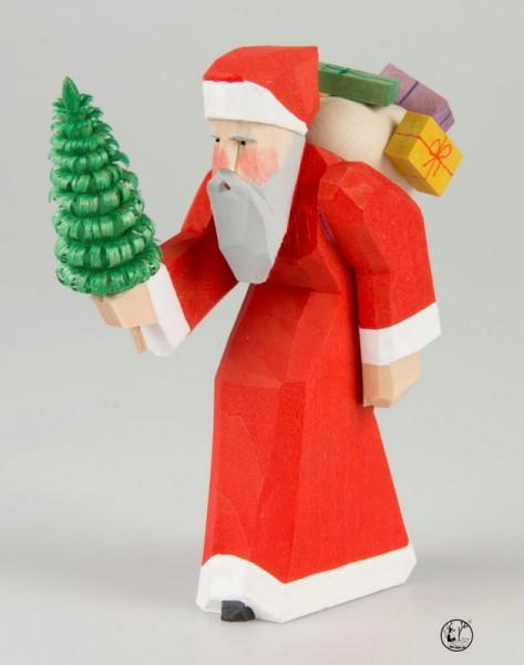 Holzschnitzerei Weihnachtsmann, 11 cm, Bettina Franke Deutschneudorf/ Erzgebirge