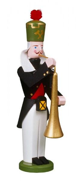 Erzgebirgischer Bergmann Bläser mit Tuba, handbemalt und in Handarbeit gefertigt, 13 cm von Volkskunstwerkstatt Eckert aus Seiffen/ Erzgebirge
