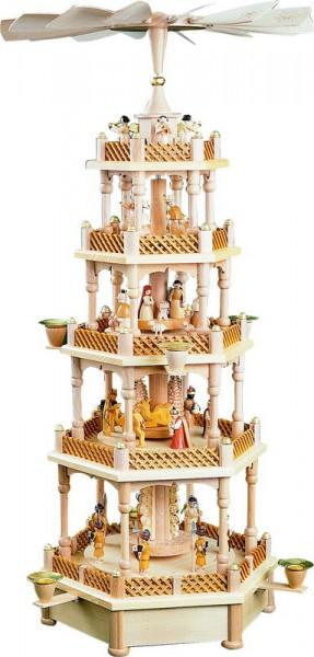 Weihnachtspyramide Christi Geburt, 4 - stöckig mit Spielwerk, Melodie: Stille Nacht, 70 cm, Richard Glässer GmbH Seiffen/ Erzgebirge