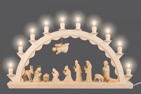 LED Schwibbogen mit geschnitzter Christi Geburt von Nestler-Seiffen