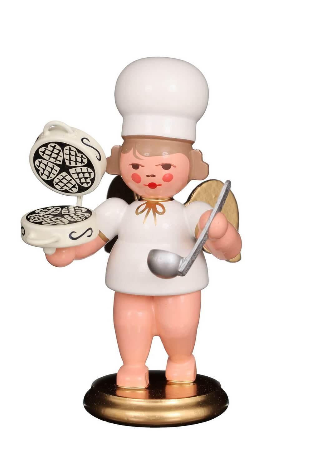 Weihnachtsengel - Bäckerengel mit Waffeleisen, 8 cm, Christian Ulbricht GmbH & Co KG Seiffen/ Erzgebirge