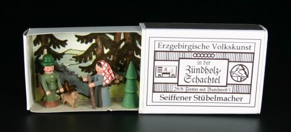Zündholzschachtel Förster mit Buschweib´l von Gunter Flath aus Seiffen / Erzgebirge Detailgetreue Nachbildung eines Försters mit Buschweib´l aus früheren …