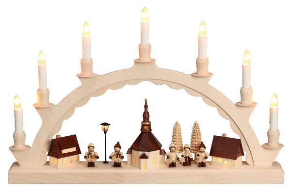 Schwibbogen mit dem Motiv Seiffener Dorf und mit Romy Thiel Kindern, elektrisch beleuchtet von Nestler-Seiffen_Bild1