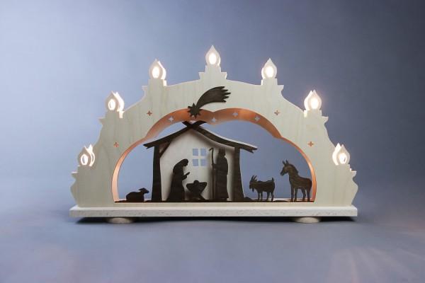 Schwibbogen Rustikal Christi Geburt, 7 flammig, elektrisch beleuchtet, 52 x 32 x 6 cm von Weigla - Günter Gläser Deutschneudorf/ Erzgebirge Der …