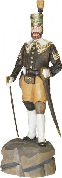 Obersteiger mit Hand am Säbel, gebeizt, geschnitzt, 16 cm oder 20 cm