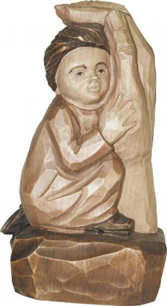Relief Kind in Gottes Hand, gebeizt, geschnitzt, 20 cm