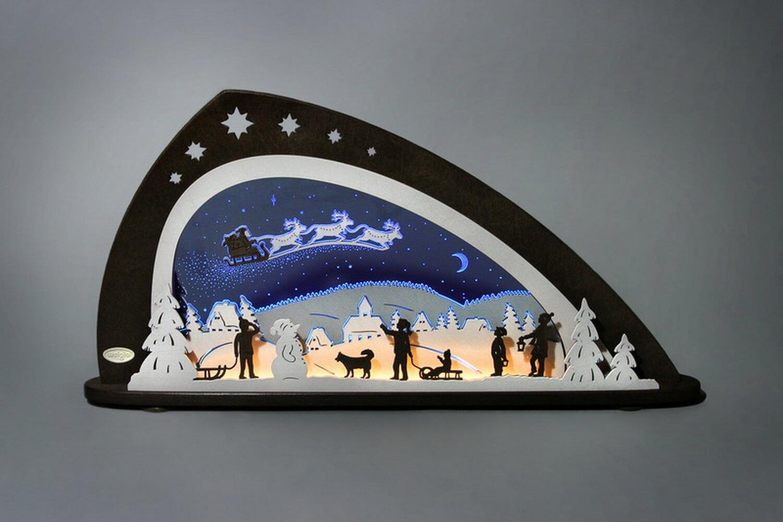 """LED Schwibbogen Santa Claus von Weigla - Günter Gläser Deutschneudorf/ Erzgebirge Der moderne LED Lichterbogen """"Santa Claus"""" besteht aus bläulich …"""
