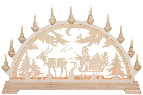KWO Schwibbogen Motiv Nikolaus mit Schlitten aus dem Erzgebirge elektrisch beleuchtet