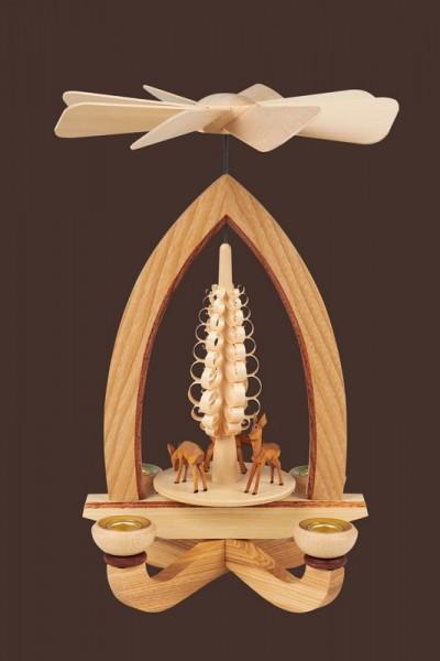 Weihnachtspyramide & Tischpyramide mit Rehe, 28 cm, Heinz Lorenz Olbernhau/ Erzgebirge