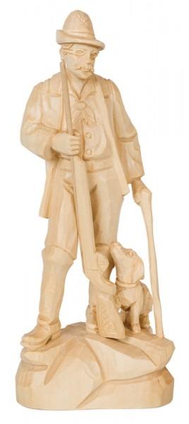 Stülpner Karl mit Hund, natur, geschnitzt, in verschiedenen Größen