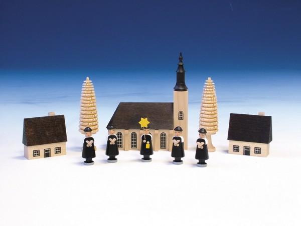 Kurrende mit Schneeberger Kirche, bunt, 13 cm, Knuth Neuber Seiffen/ Erzgebirge