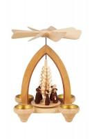 Vorschau: Weihnachtspyramide mit Kurrende, 26 cm für Teelichter hergestellt von Heinz Lorenz_Bild1