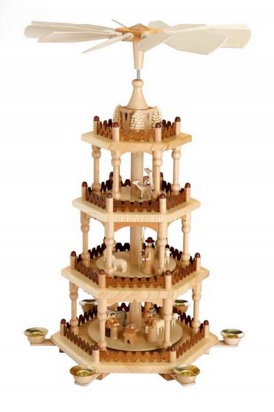 Weihnachtspyramide, 4 - stöckig mit Heiliger Familie, natur, 51 cm Größe ca. 51 cm Betrieb mit Pyramidenkerzen Material: heimische Hölzer, hochwertige Farben …