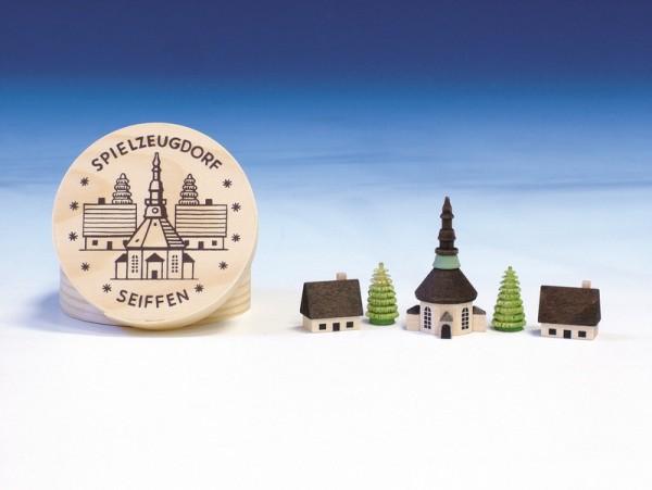 Spanschachtel mit Seiffener Dorf, 8 cm, Knuth Neuber Seiffen/ Erzgebirge