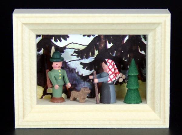 Miniatur im Rähmchen Förster mit Buschweib´l von Gunter Flath aus Seiffen / Erzgebirge Detailgetreue Nachbildung eines Försters mit Buschweib´l aus früheren …
