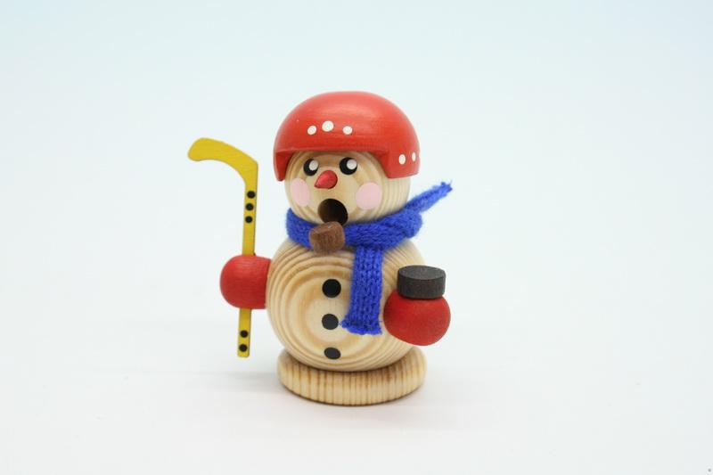 Räuchermann Hockeyspieler mit Helm, natur, natur, 8 cm, Gerd Hofmann Seiffen/ Erzgebirge