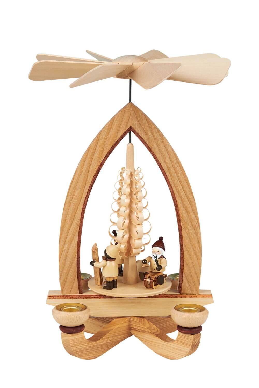Weihnachtspyramide mit Weihnachtsmotiv (4,5 cm), natur, 28 cm hergestellt von Heinz Lorenz Olbernhau/ Erzgebirge_Bild1