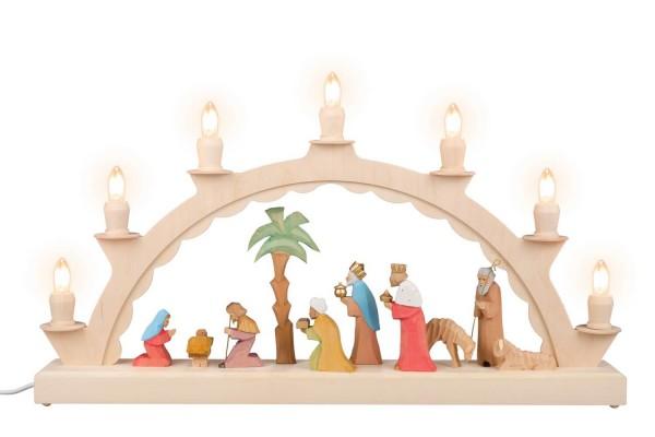 LED Schwibbogen von Nestler-Seiffenmit dem Motiv einer geschnitzten Heiliger Familie, bunt_Bild1