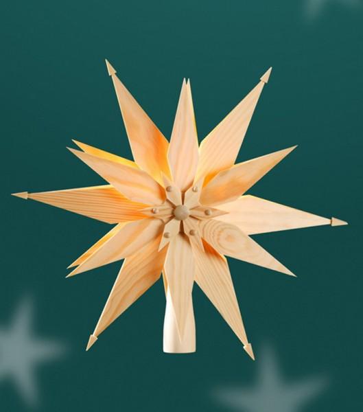 Christbaumspitze Holzstern, elektrisch beleuchtet mit Spitzkerzen 1 x 5 Watt/12 V mit Trafo, Durchmesser 24 cm, Martina Rudolph Seiffen/ Erzgebirge