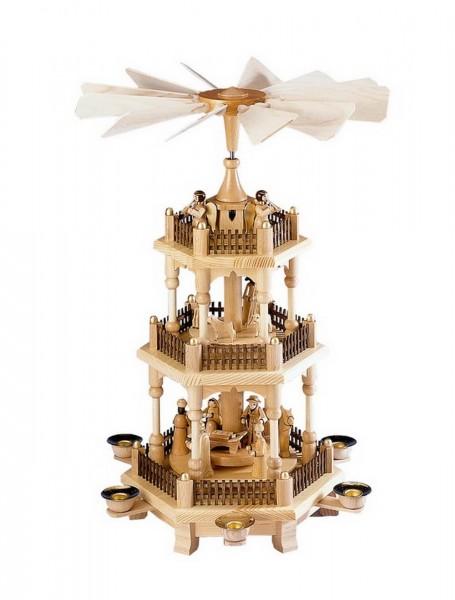 Weihnachtspyramide mit Lattenzaun, 3 - stöckig mit Heiliger Familie, 45 cm von Theo Lorenz. Auf der unteren Ebene dreht sich die Heilige Familie mit dem Kind …