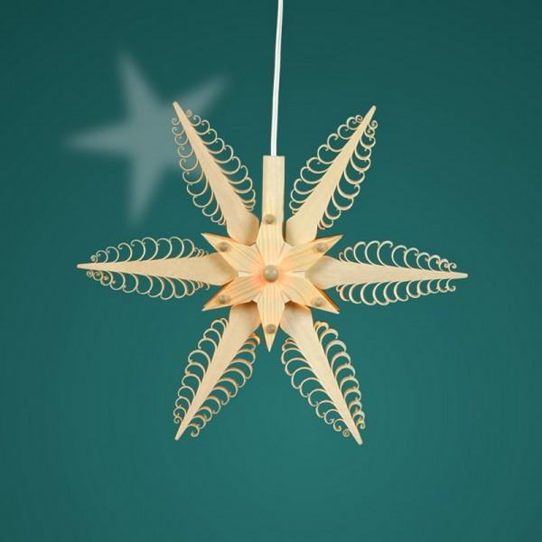 Fensterschmuck Holzstern, elektrisch beleuchtet, Durchmesser 19 cm, Martina Rudolph Seiffen/ Erzgebirge