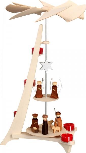 Weihnachtspyramide Christi Geburt mit Engel, L-Form von Seiffener Volkskunst