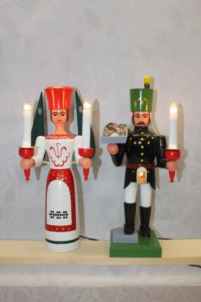 Engel und Bergmann, 34 cm mit Erzschale auf Stein und Bauchlampe, bunt, elektrisch beleuchtet, jede Figur hat einen eigenen Trafo von Nestler-Seiffen.com OHG …