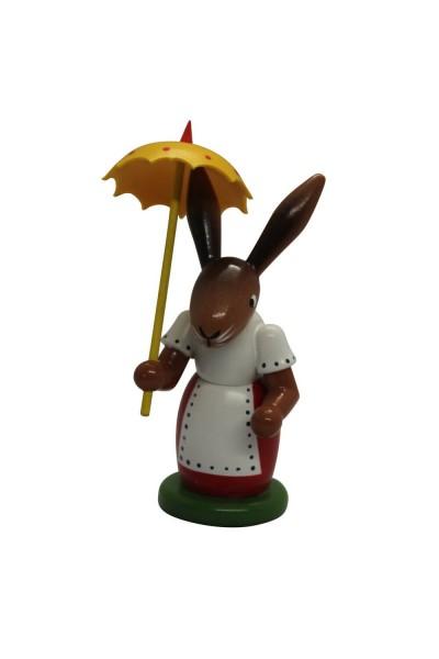 Osterhäsin mit Schirm, farbig, stehend, 5 x 9 x 4 cm, Nestler-Seiffen.com OHG Seiffen/ Erzgebirge