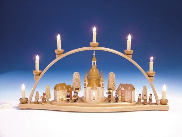 Schwibbogen Frauenkirche mit Steigenberger Hotel mit beleuchteten Häusern, komplett elektrisch beleuchtet, 66 cm, Knuth Neuber Seiffen/ Erzgebirge